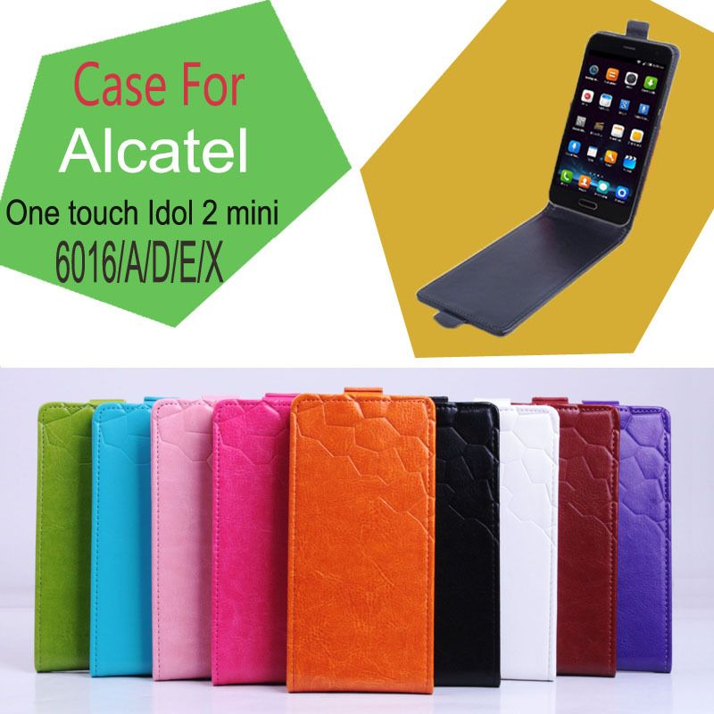 Luxury Flip PU Leather Case for Alcatel One Touch Idol 2 Mini 6016 A D E X Phone Bag Case Shell Skin for Alcatel 6016 Back Cover