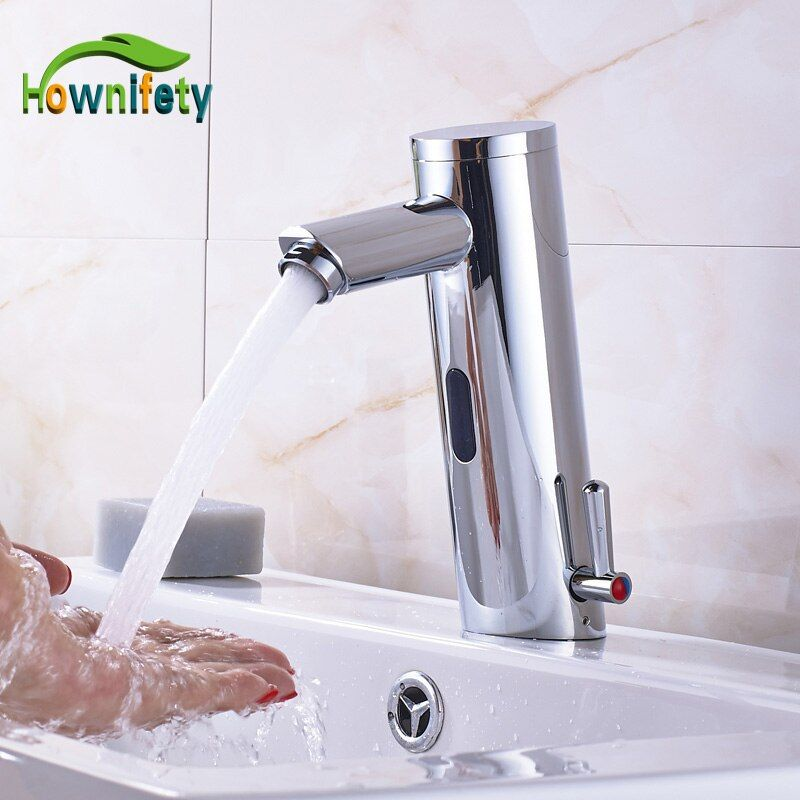 Chrome Bathroom Basin Faucet Automatic Touchless Tap Hot&Cold Faucet Deck Mount