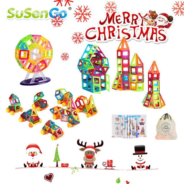 SuSenGo Mini Size 40/60/80/90 Piece Magnetic Designer Building Blocks Bricks 3D Construction Toys For Kids Baby Christmas Gift