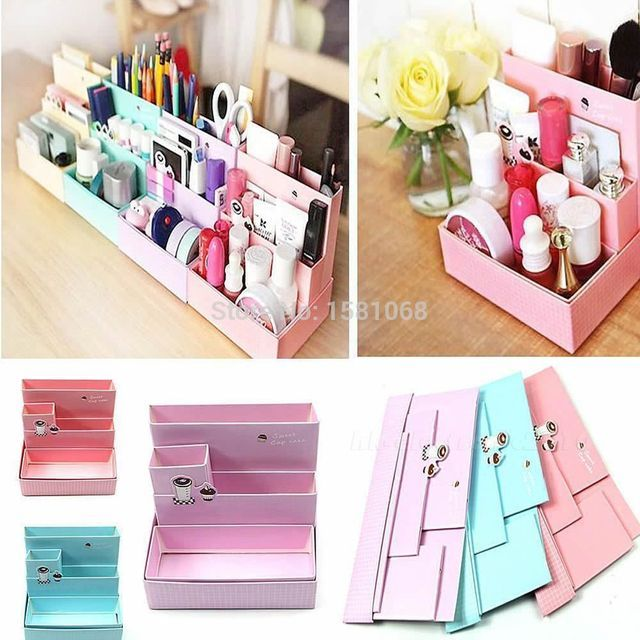 2016 New High Quality Desk Decor Stationery holder DIY Paper Board Storage Box Makeup Cosmetic Organizer New Pen Holder