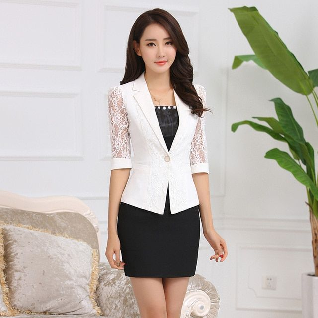 S-3XL Women's Work Blazer Coat Summer 2017 Fashion Elegant Office Lace Half-sleeve Slim Outerwear Formal Tops Female White Black