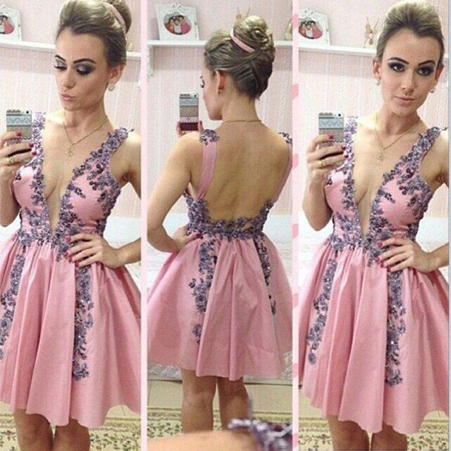 Sexy Cocktail Dresses 2016 New Arrival Party Dresses Above-Knee Deep V-Neck None Off the Shoulder Ball Gown Prom Dress 2016