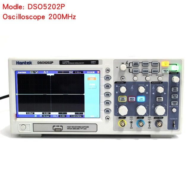 Osciloscopio Hantek DSO5202P Digital Oscilloscope USB 200MHz bandwidth 2 Channels 1GSs PC Storage LCD Record length up to 24K