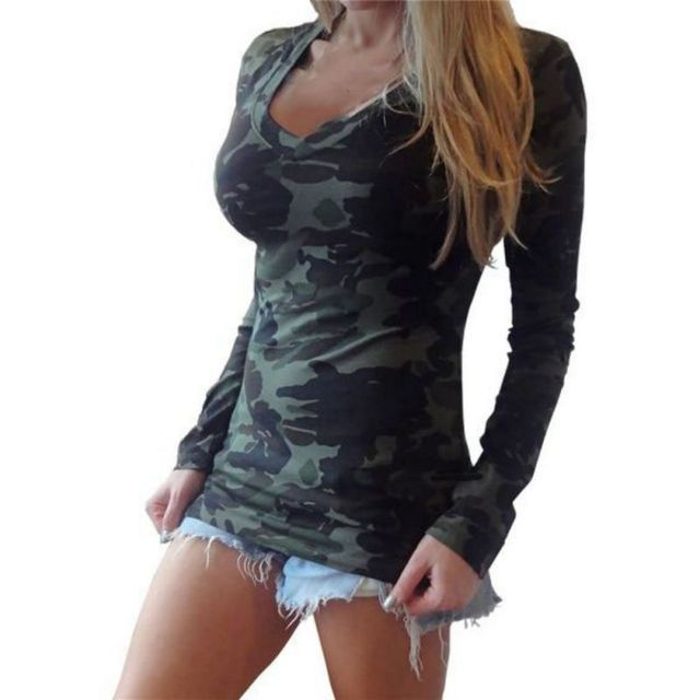Autumn Spring Women Camo Long Sleeve Casual T Shirt Printing Military Camouflage Tops Tees