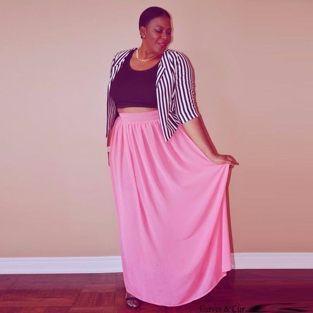 New Arrival Plus Size Skirts Women A Line Floor Length Long Maxi Skirt Hot Sale Pink Color Chiffon Skirt With Lining