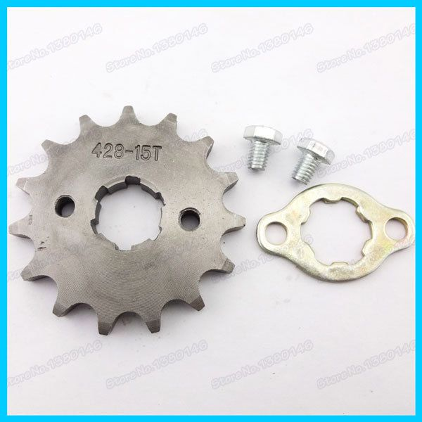 front engine sprocket with  Retainer Plate Locker pit dirt bikes 428 15 tooth 20mm ID For TTR SSR CRF XR50 Orion SSRquad ATV