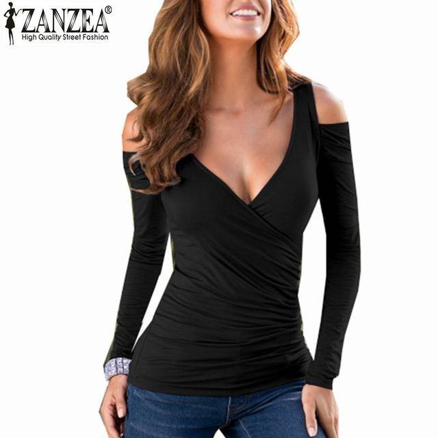 Zanzea T Shirt Women 2016 Sexy Bodycon Off Shoulder Casual Tops Long Sleeve Sexy V Neck Tee Shirts Blusas Femininas Plus Size