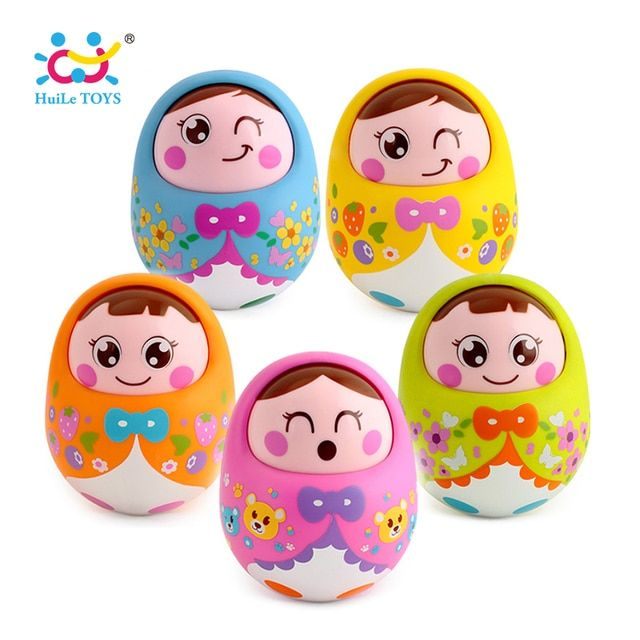 HUILE TOYS 979 Baby Toys Rattles Nodding Matlyoshka Tumbler Doll Sweet Bell Music Roly-poly Learning Educational Toys Xmas Gifts