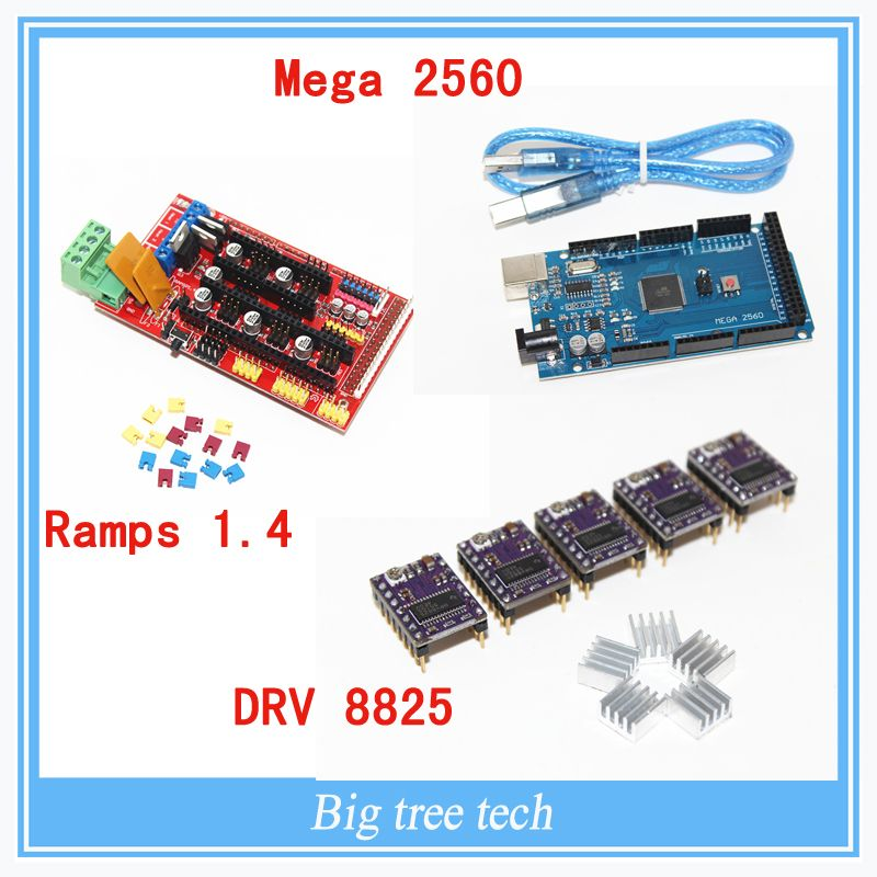 3D Printer 1pcs Mega 2560 R3 + 1pcs RAMPS 1.4 control panel+ 5pcs DRV8825 Stepper Motor Drive Carrier Reprap
