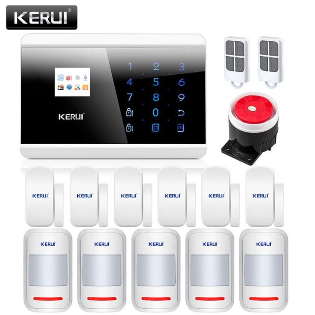 KERUI APP IOS PSTN GSM Alarm System Dual Net Touch  English Spanish Russian French Voice Dual APP Controlled  Home Security