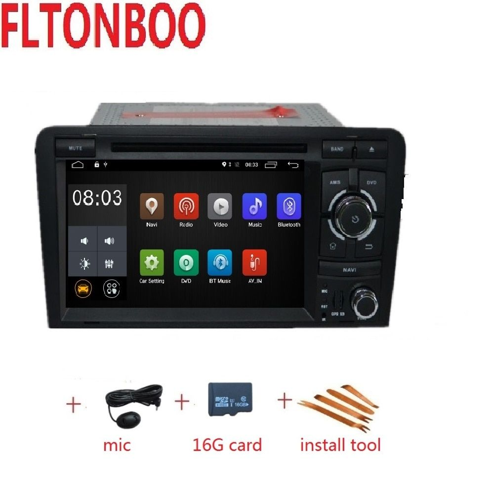 "7"" Android 9 for AUDI A3 2 din car dvd,gps navigation,wifi,radio,bluetooth,Steering wheel Canbus,free 8g map mic,touch screen"