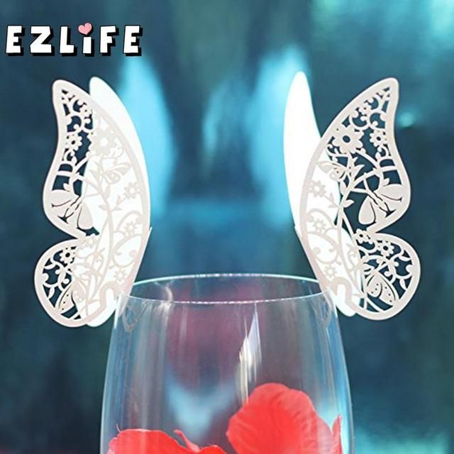 50pcs Wedding Hollow Name/Place/Cup Card Laser Cutting Butterfly Paper Guest Seat Card Party Meet Shower Decoration WN0667