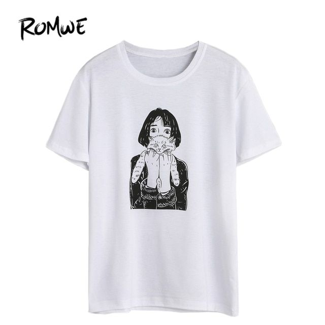 ROMWE Clothes Women Printed Women T-shirt Summer 2017 White Girl Holding Cat Print Short Sleeve Casual T-shirt