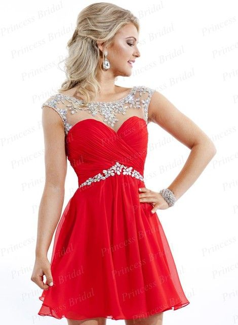 Free Shipping 2014 Best Style Short A-Line Bateau Neck Rhinestone Beaded Low Back Chiffon Womens Cocktail Dresses 2014 CD006