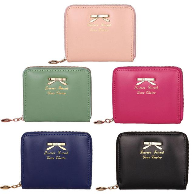 Korean Woman's Purse Bowknot Clutch Card holder Woman Wallets Short Small Bag PU Leather Female Purses For Coins carteras mujer