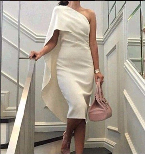 Fashion One Shoulder White Cocktail Dress With Cape Short Formal Party Gown 2017 Vestido De Festa Curto Customized ER-5