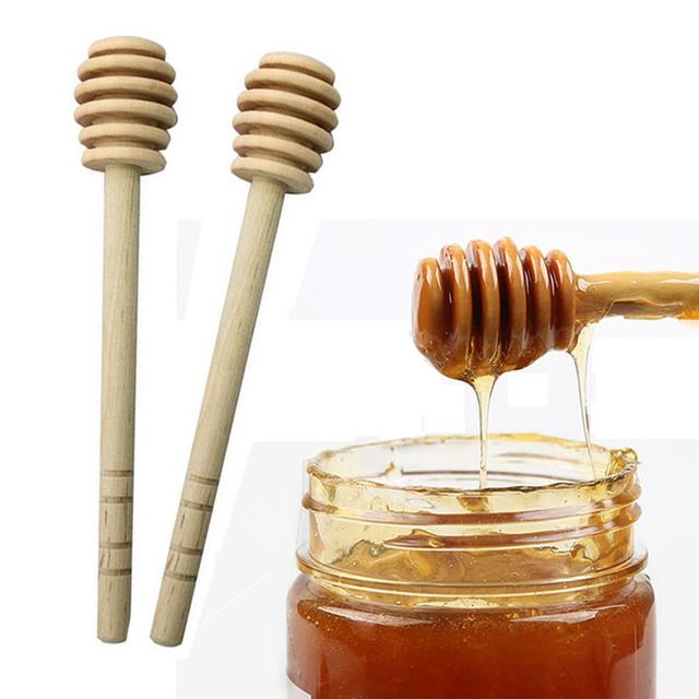 1Pc Practical Long Handle Wood Honey Spoon Mixing Stick Dipper For Honey Jar Supplies Kitchen Tools