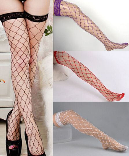 1 pair 4 Colors Women Net Sexy Lady Large Mesh Fishnet Thigh High Stockings Tights summer style QA194-3