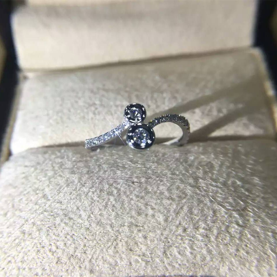 18K White Gold Diamond Engagement Ring Two Stone Center 0.09cttw Diamond Promise Ring Natural Diamond Butterfly Wedding Ring
