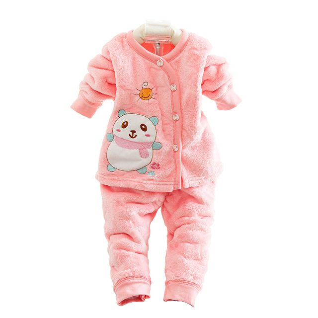 2018 Autumn Winter Velvet Newborn Baby Clothes Set 2PCS Baby Boy Clothes Winter Baby Girl Clothing Sets Infant Clothing