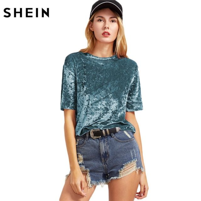 SHEIN Velvet T shirt Women Green Short Sleeve Crushed Velvet T-shirt Summer Ladies Round Neck Casual Tee C3001
