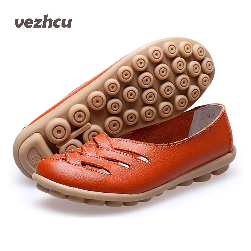 VZEHCU Women Sandals Summer Shoes 2016 New Fashion Genuine Leather Hollow Out Casual Flats Shoes Woman sandals women ac50