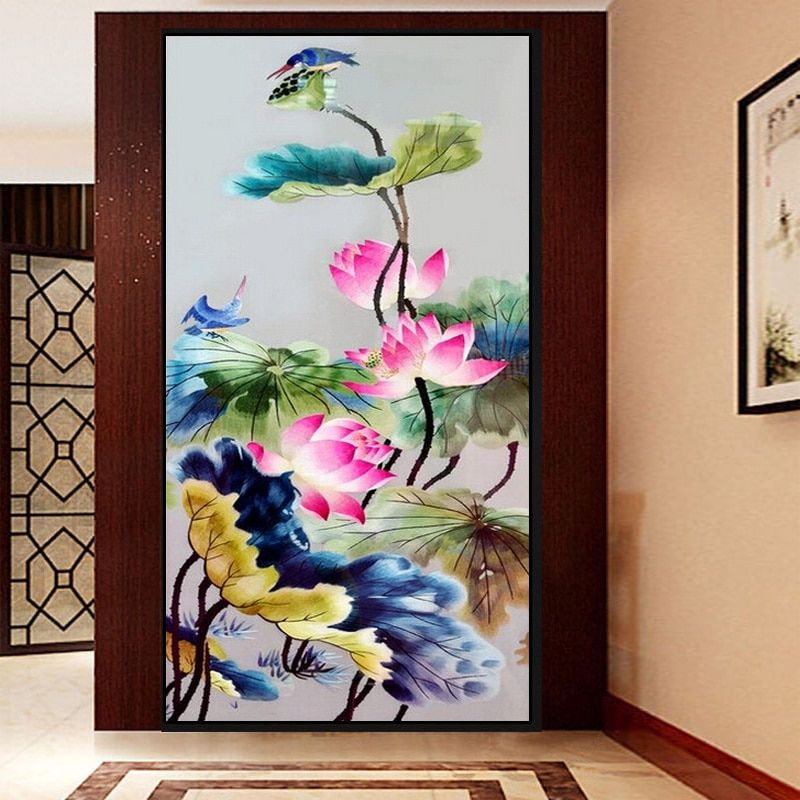 5D Needlework Diy Diamond Painting Cross Stitch Lotus Diamond mosaic Embroidery Flower Serie Vertical Print Rubik's Cube Drill