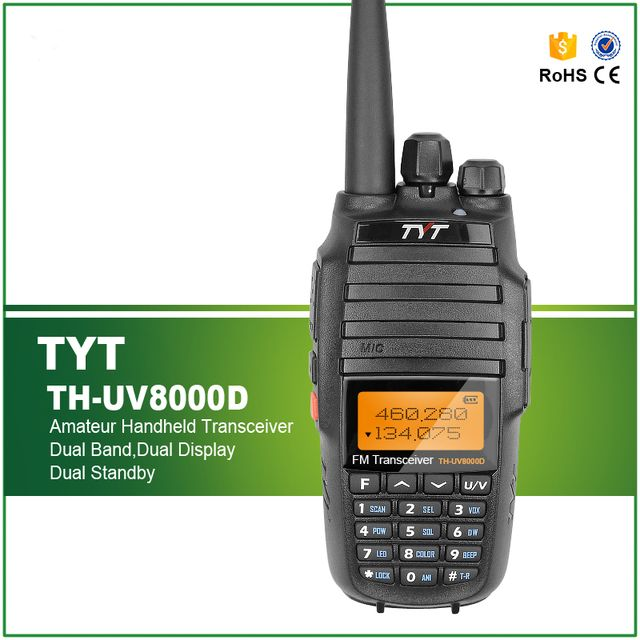 Upgrade Version TYT TH-UV8000D 3600mAh 10W Handheld Transceiver Walkie Talkie Dual Band Display Standby with High Gain Antenna