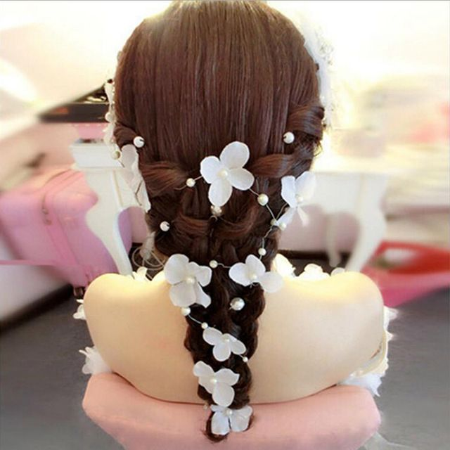 Romantic White Red Flowers Headband Simulated Pearls Jewelry Hair Flower Bridal Headwear Wedding Floral Hair Accessories SG028