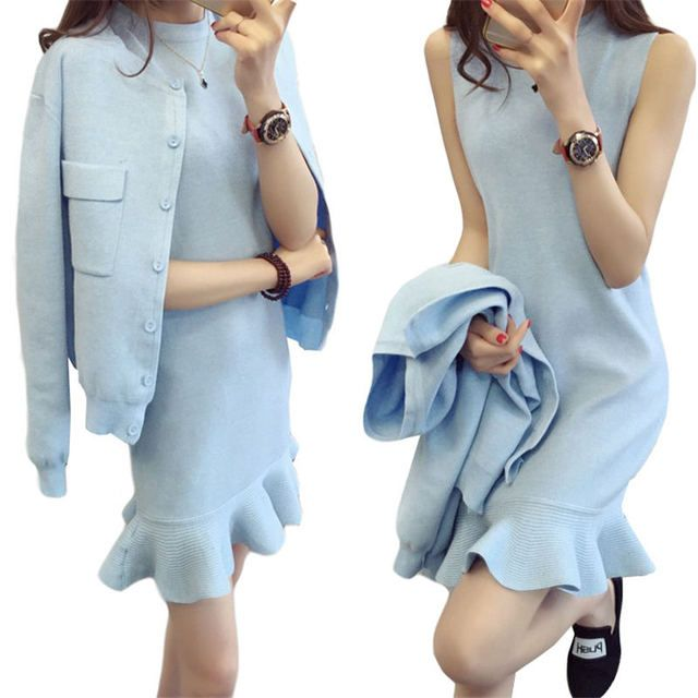 Woman Autumn Sweater Cardigan +Dress 2 Pcs Sets 2016 Fashion Slim Ruffles Dress Knitted Suit  Long Sleeve Knitted Jacket SS745