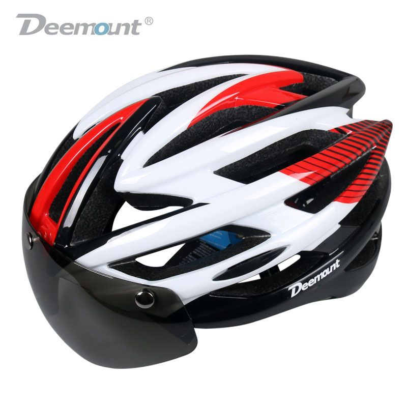 Deemount Cycling Helmet Bicycle MTB Mountain Road Biking Safety Cap W/H LED Light Goggle Lens In-mold 26 cavities PC EPS foam