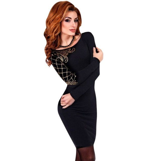Fashion Long Sleeve Slim Bodycon Women Party Evening Pencil Dress S-XL