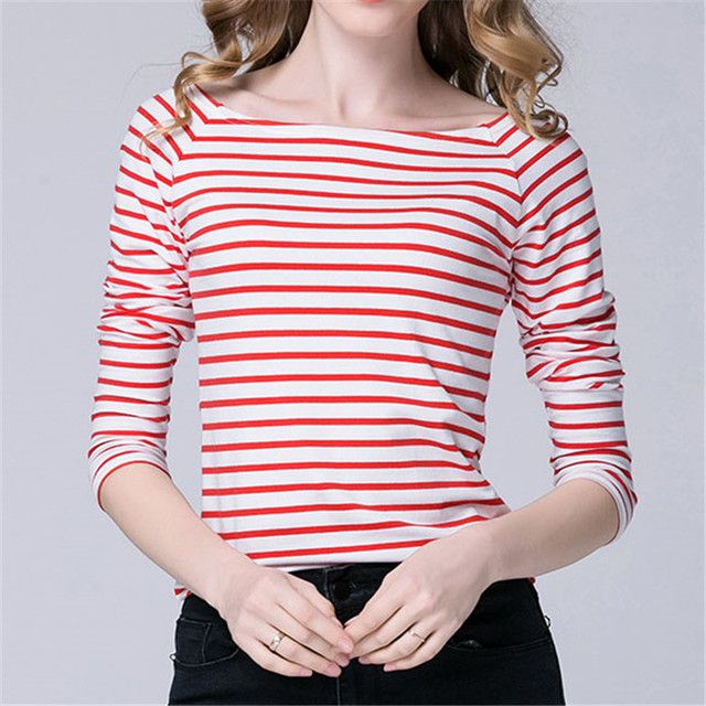 YUETONGME 2017 new Couture Black and white striped long sleeved T-shirt women slim fit raglan sleeve shirt collar