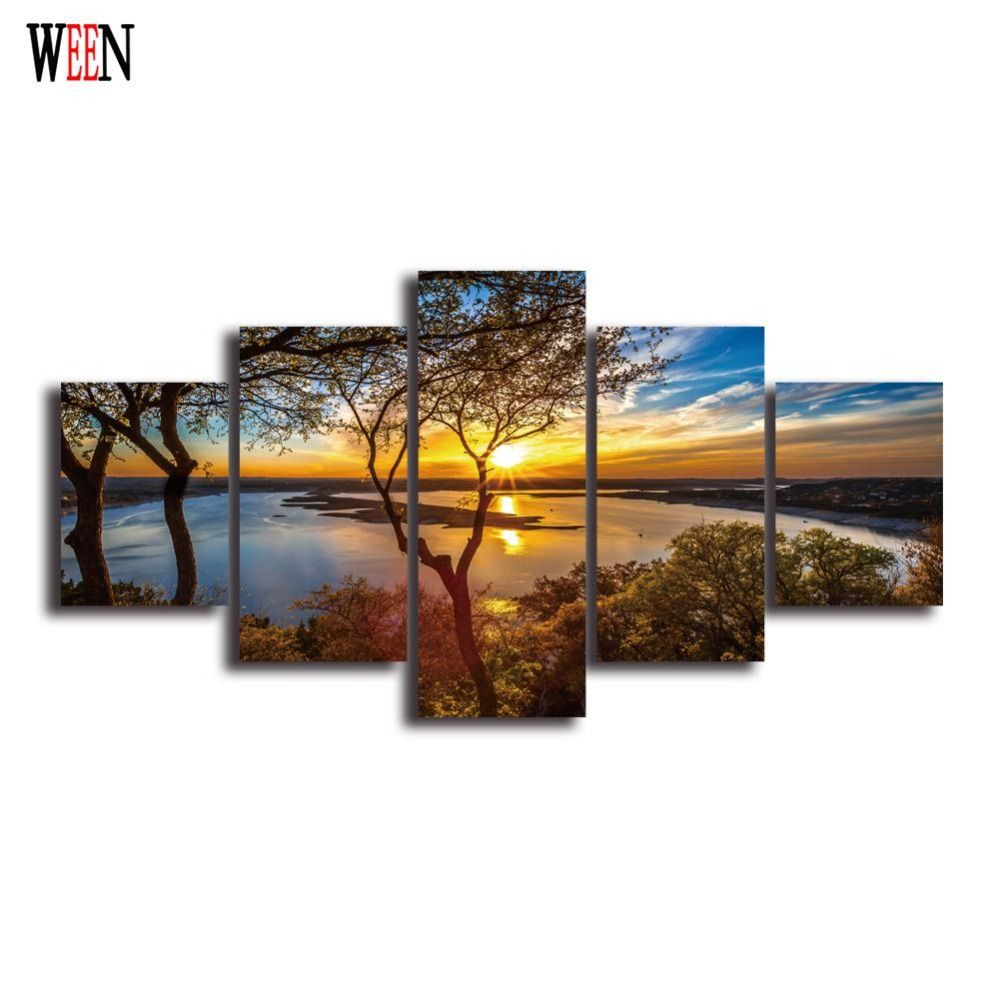 HD Landscape 5 Panel Wall Art Canvas Painting Printed Framed Pictures Home Decor Large Poster For Living Room Ready to Hang
