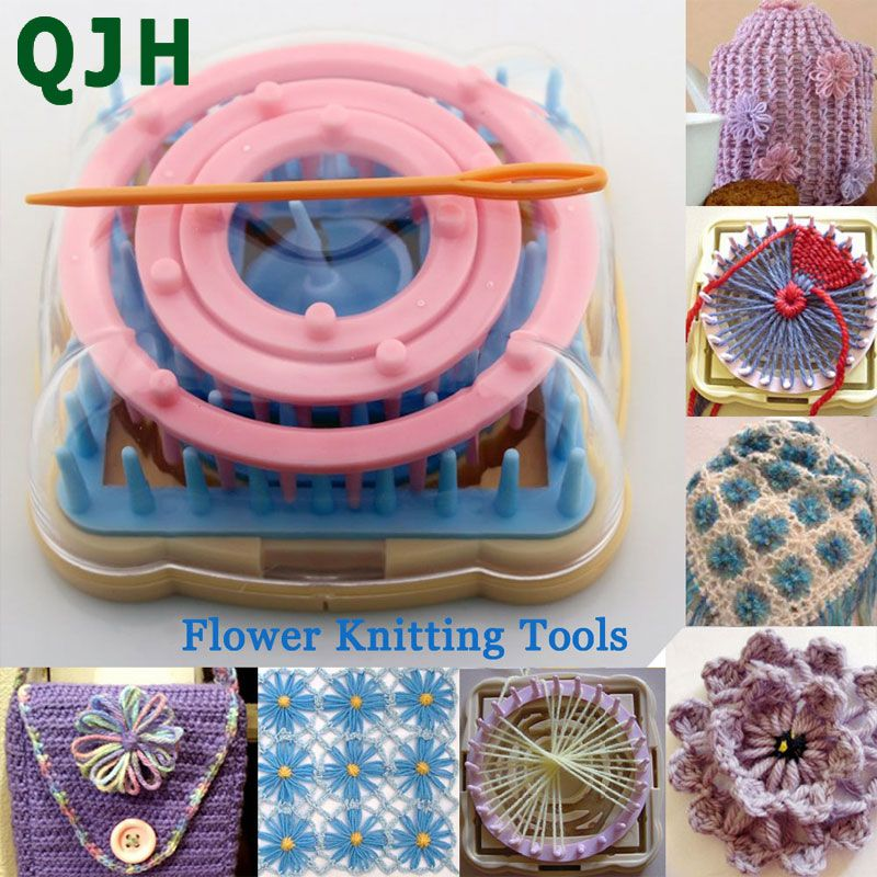 Hand Knitting Tools Flower Fork Knitted Device Knitting Loom Knit Daisy Flower Pattern Maker Weave Set Home DIY Craft Tool