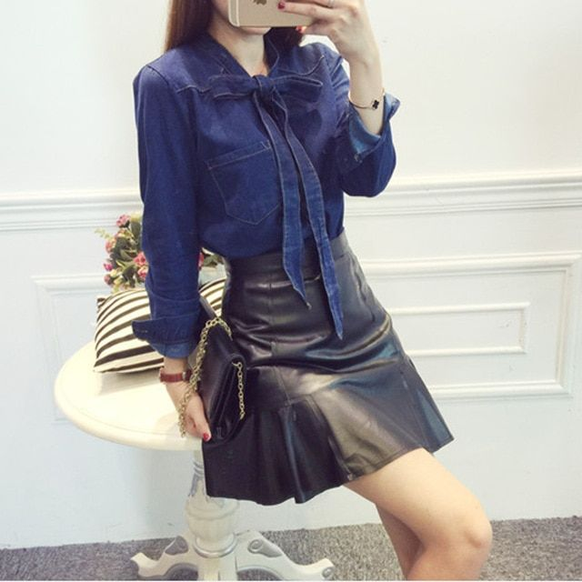 Atumn womens 2016 New South Korean fashion color lace bowknot pocket size loose sleeved denim shirt woman blouses
