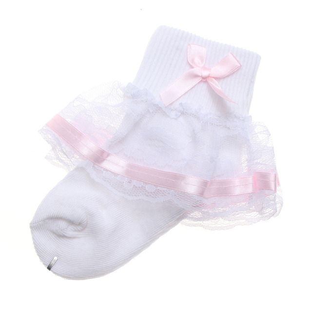 Baby Gilrs Princess White Socks 2016 Fashion Cute  Little Lady Soft  Breathable Sweet Bow Cotton 5 Colors Lace Bowknot Side