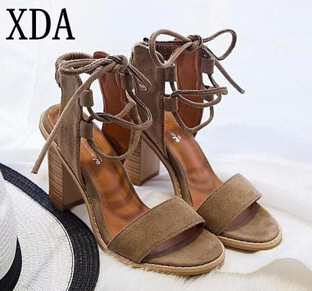 XDA 2019 Sexy Women Pumps Open Toe Lace up Heels Sandals Woman sandals Thick with Women Shoes women High heels sandals