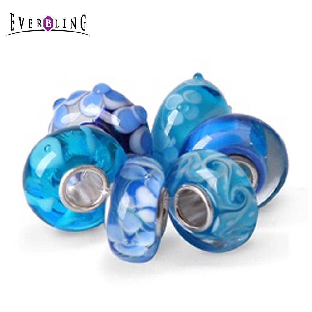 Blue Color 6 Pieces In One Bag Murano Glass 100% 925 Sterling Silver Charm Beads Fit European Charms Bracelet