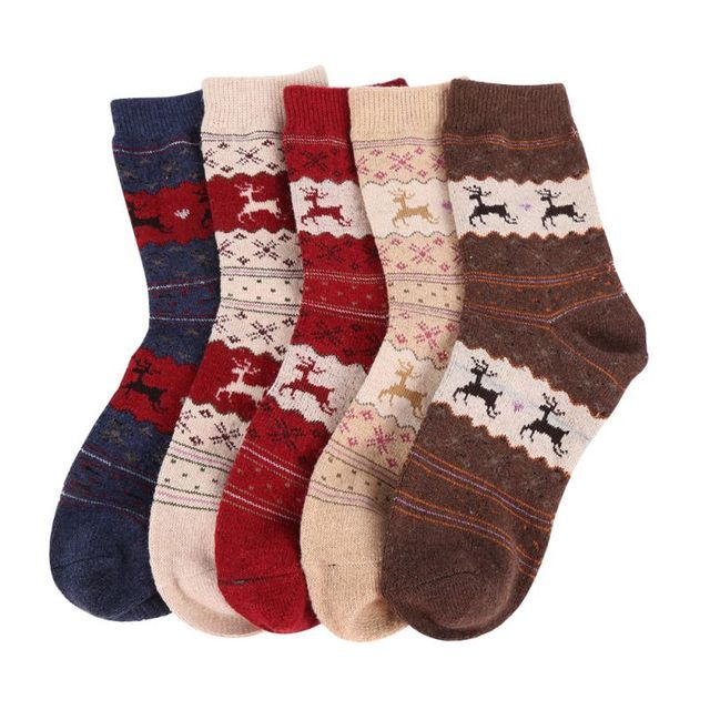 Hot Christmas Gift Snowflake Deer Women Wool Socks Warm Winter Sock Filler Xmas GiftCY2