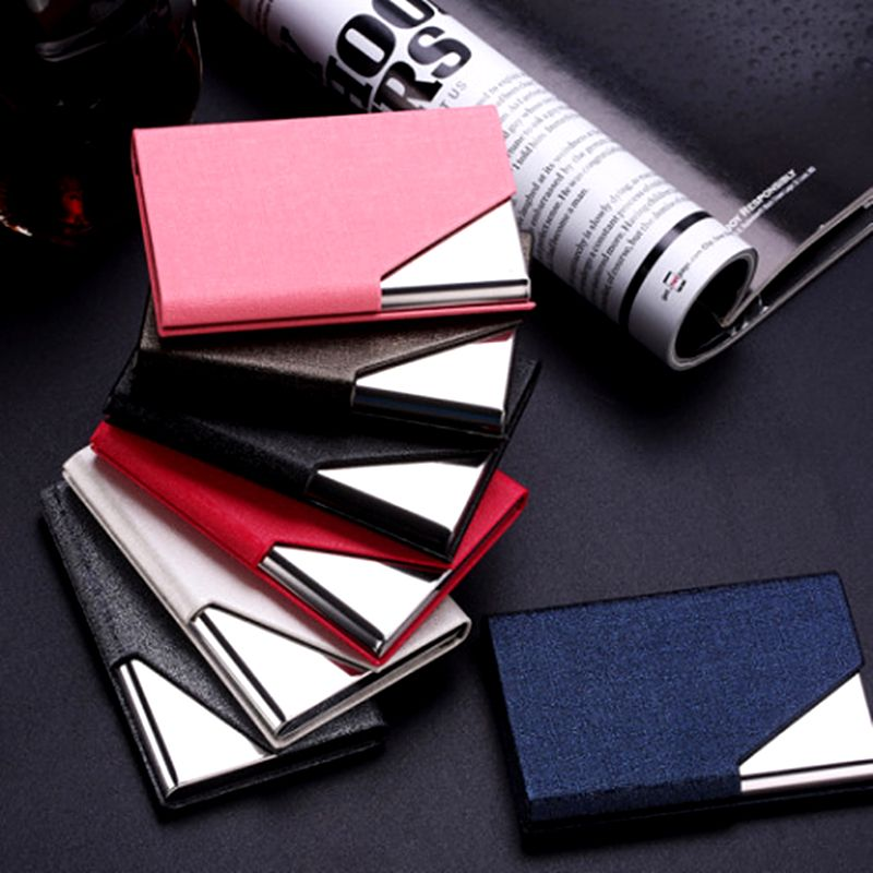 QOONG Rfid Travel Card Wallet Leather Men Women Waterproof Credit ID Card Holder Card Case Metal Wallet Cardholder Carteira
