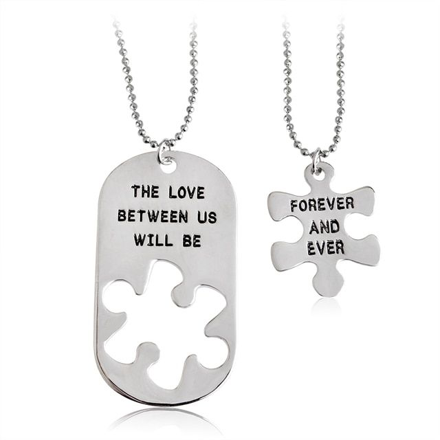 "Creative Design Engrave ""The love between us will be forever and even"" Necklace & Pendant 2pcs /set Best Gift Jewelry For Lovers"