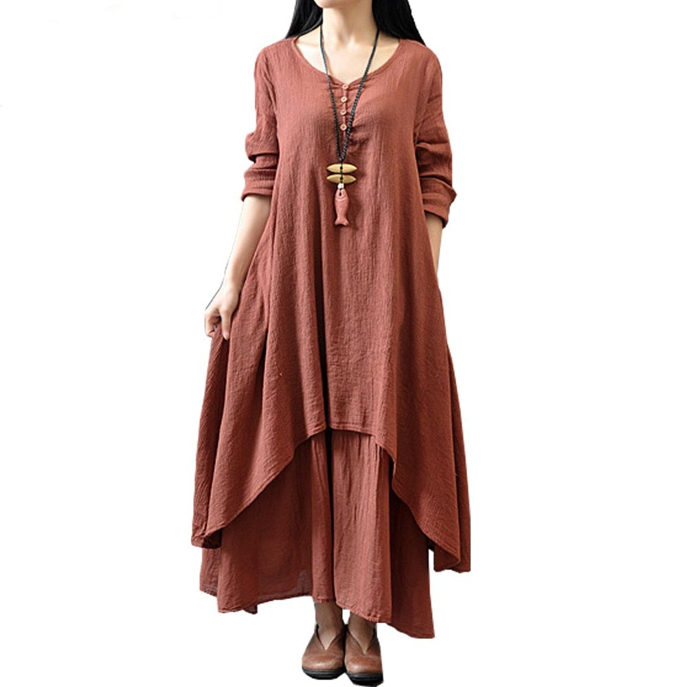 Johnature Cotton Color Women Maxi Dress 2019 Spring New False Two-piece Long Sleeve Round Neck Loose Plus Size Irregular Dress