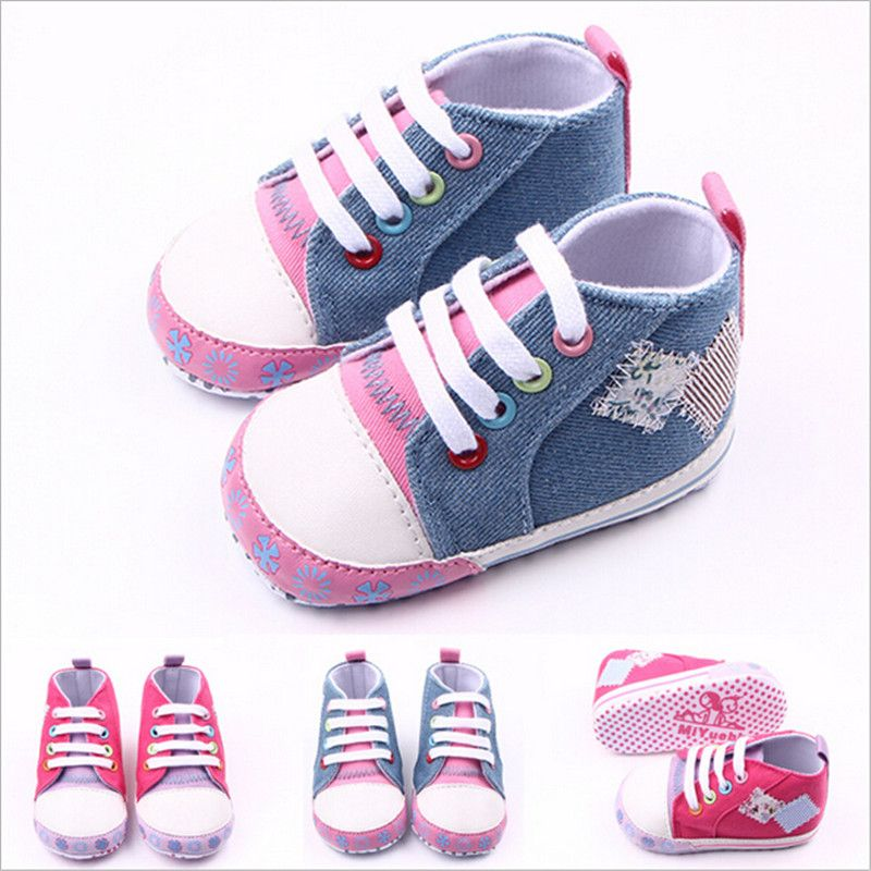 Fashion Lovely Baby Canvas Shoes Newborn Boys Girls Casual Shoes Anti-slip Bebe First Walkers
