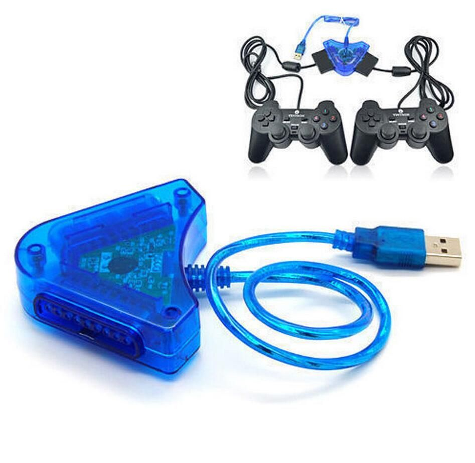New Converter Cable For Sony PSX PS1 PS2 Gamepad PlayStation 2 Joypad to PC USB Games Controller Adapter ,Dual Ports +CD Driver