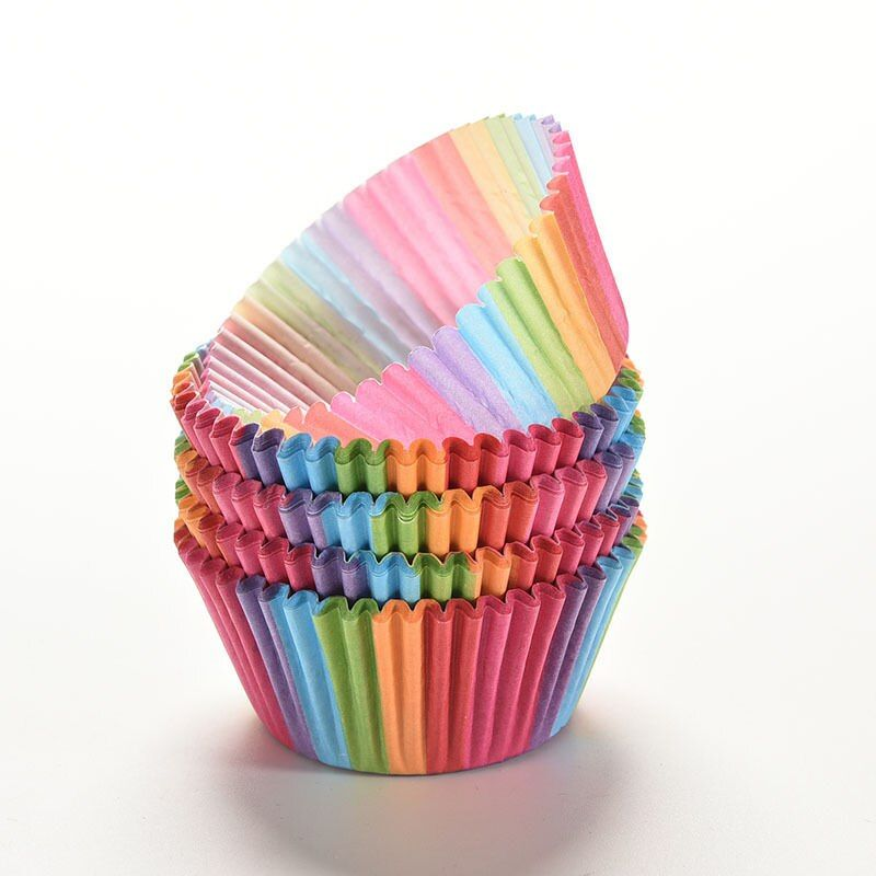 100Pcs Colorful Rainbow Paper Cake Cupcake Liner Baking Muffin Box Cup Case Party Tray Cake Mold Decorating Tools