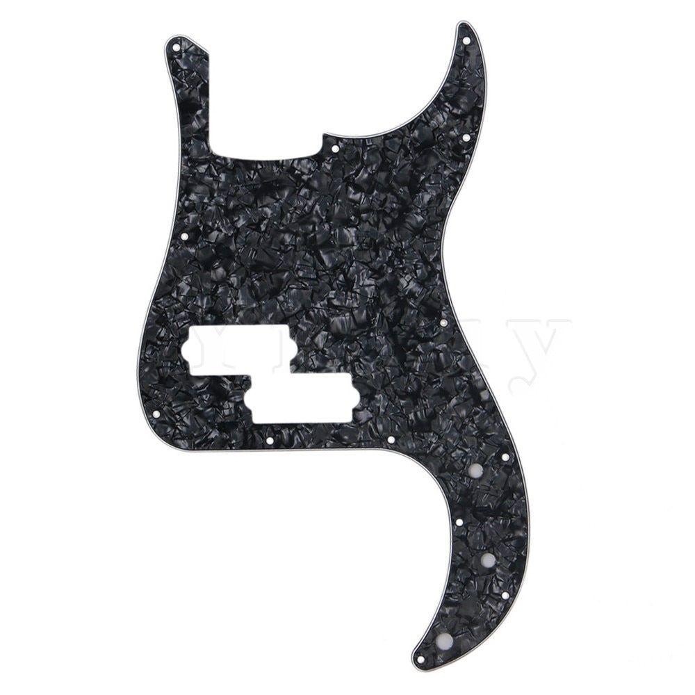 Yibuy Electric Bass Guitar Parts Black Pearl Pickguard Scratch Plate for PB Bass 3 Ply