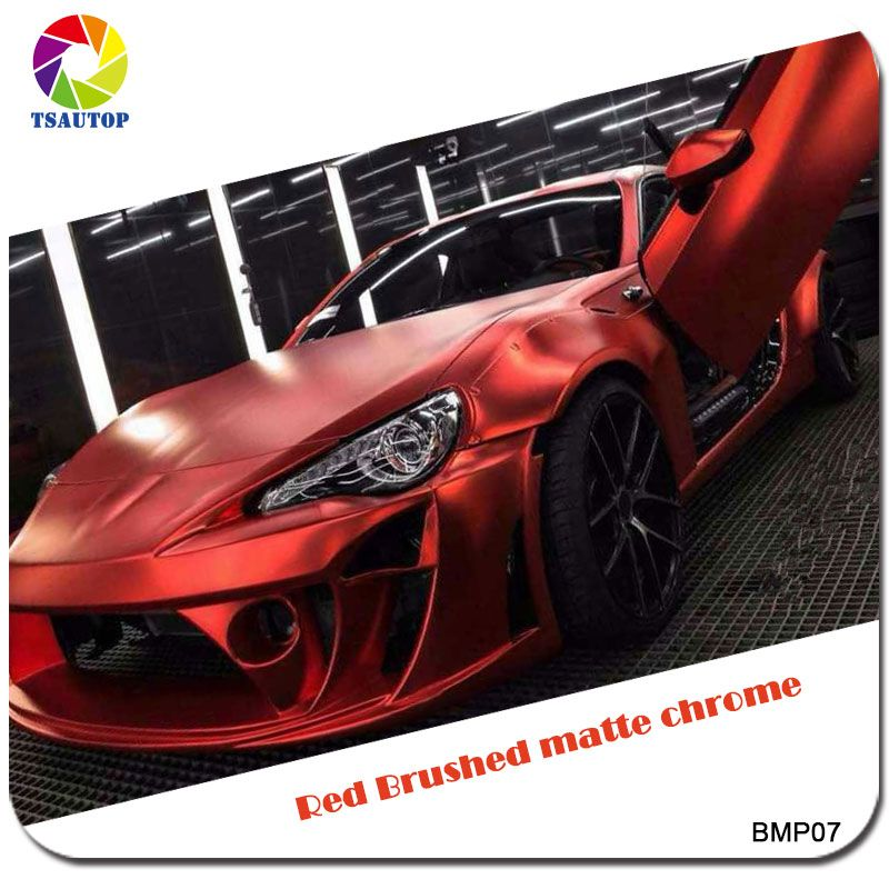 2016 Top Quality 1.52*20m Brushed Matte Chrome Red Car Wrap Vinyl Protective Wrapping for Car Decoration Stickers