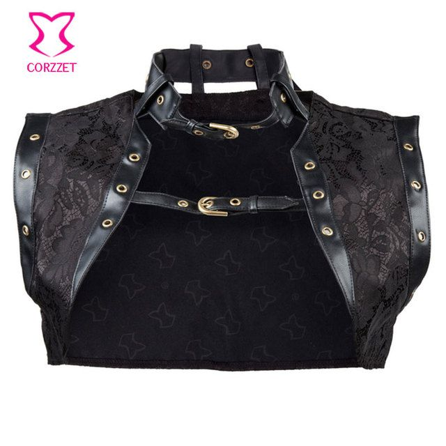Sexy Corsets And Bustiers Burlesque Steampunk Clothing Accessories Black Brocade/Leather Gothic Corset Jacket Plus Size S-6XL