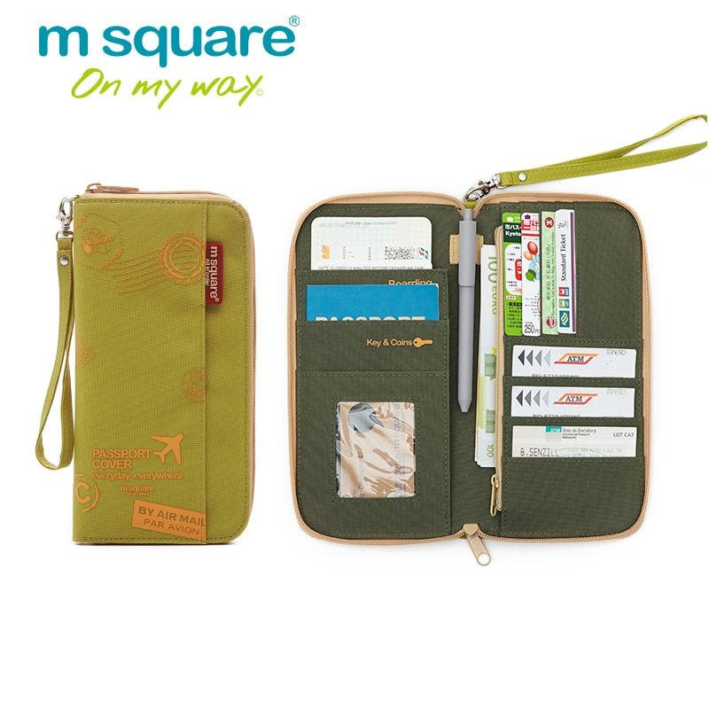 M Square Travel Wallet Passport Cover on The Passport Holder Document Organizer Holder Purse Business ID Credit Card Holder